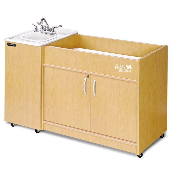 Kiddie Station Diaper Changing Station Portable Handwashing Sink with Laminate Cabinet + ABS Basin