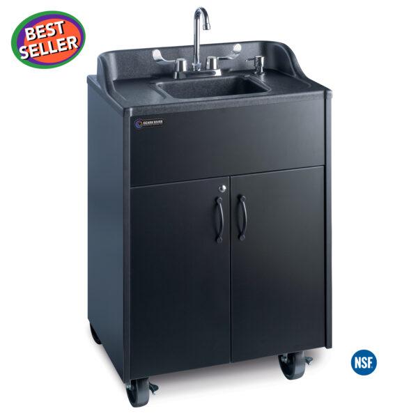Premier Black Portable Hot Water Handwashing Sink with Laminate Cabinet and Single Basin